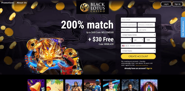 Black Lotus Casino 30 Free Chip 200 Match First Deposit Bonus
